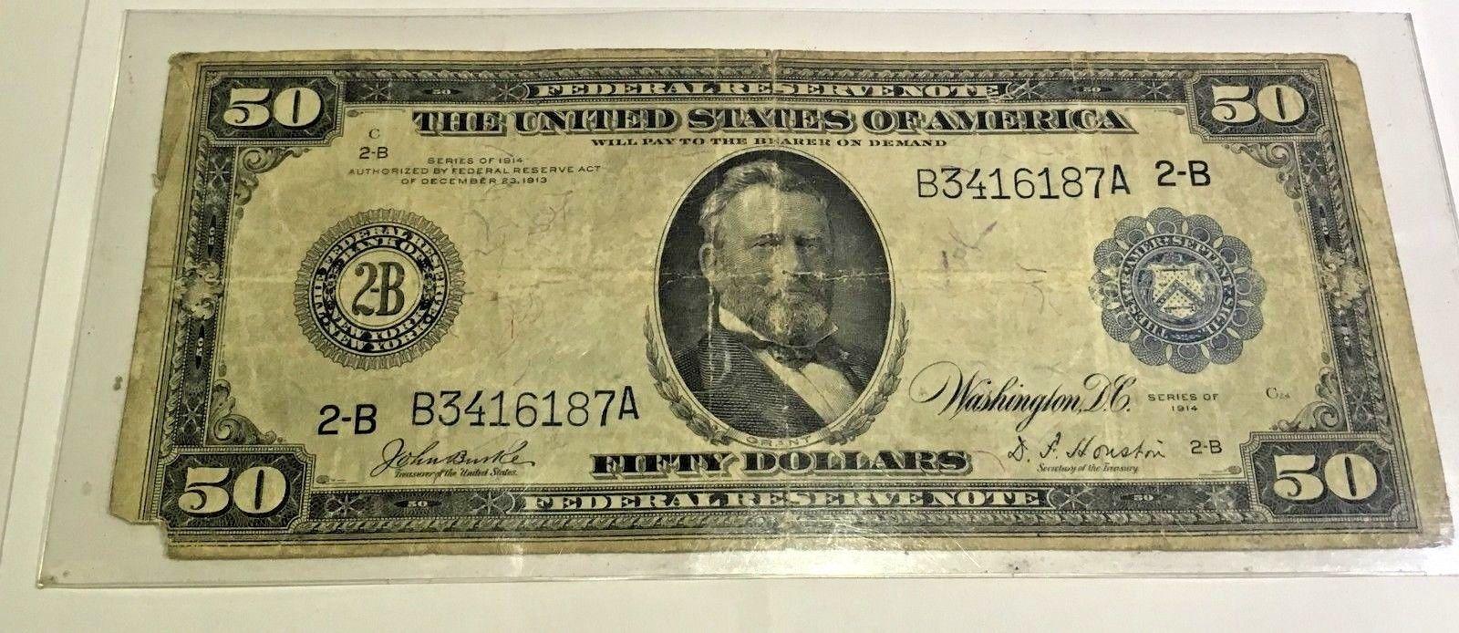 Grant Federal Reserve Note designed on Modern $2 Bill 1914 Series $50 Ulysses S