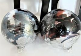 (2) Christmas Iridescent Art Glass Ornaments Murano Style ZORZA Poland -... - $23.75