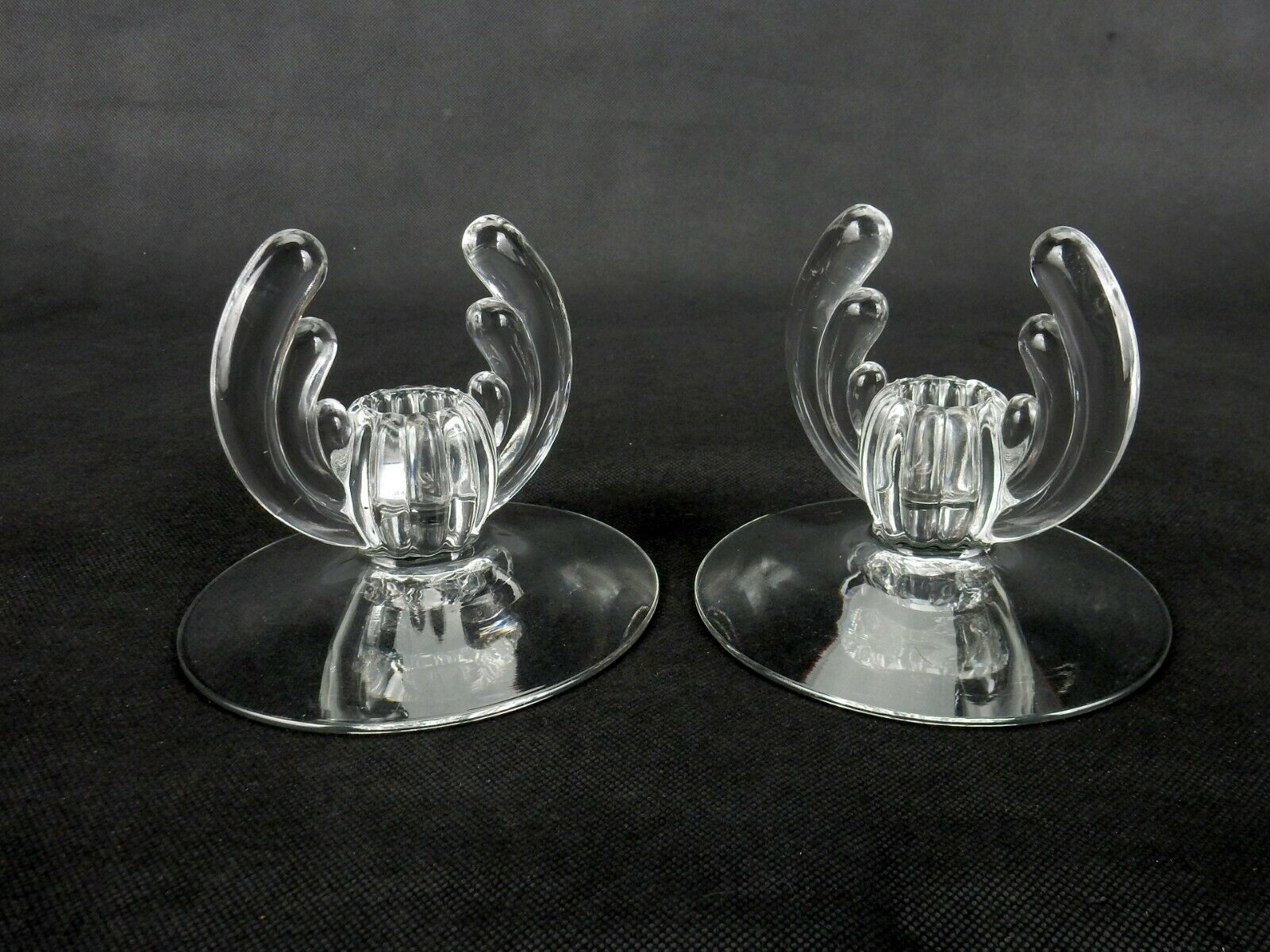 Vintage Candle Holders, Heisey Crystolite, Feather Plume/Lotus Style Side Wings - $24.45