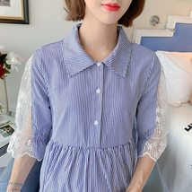 Maternity's Dress Turn Down Collar Stripe Short Sleeve Dress image 8