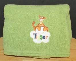 Disney WInnie the Pooh's friend Tigger sherpa fleece baby blanket green - $24.05