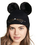 Kate Spade New York Hat Embellished Cat Knit Beanie NEW $78 - $67.32
