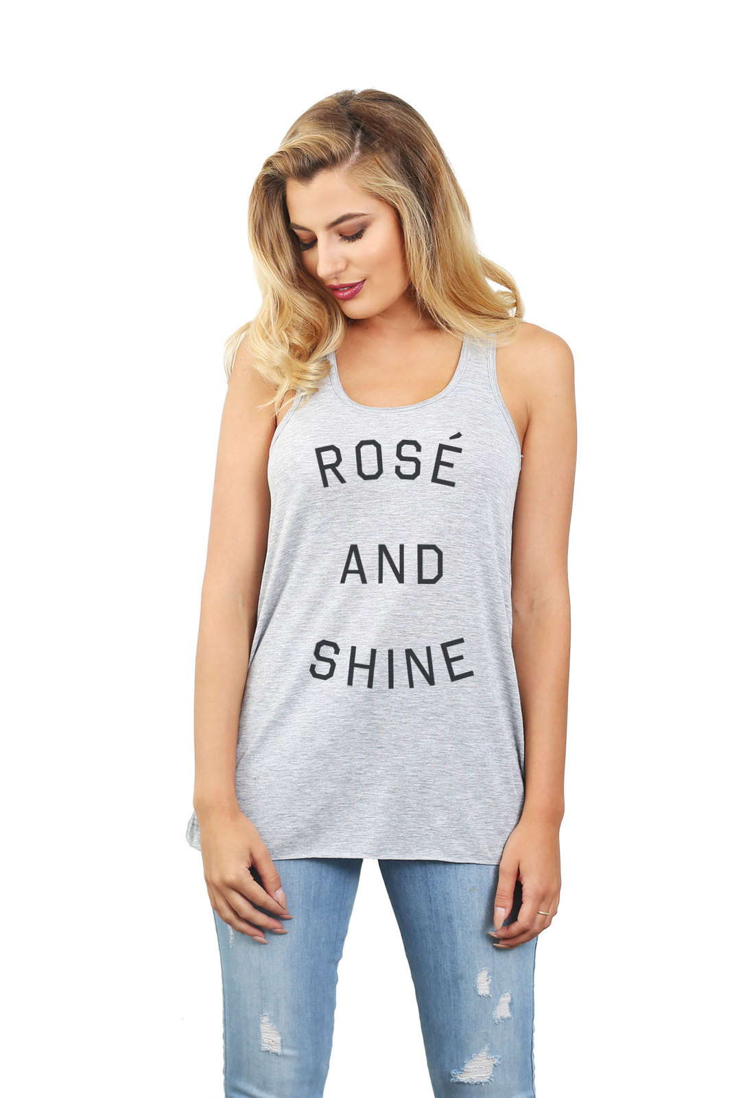 Thread Tank Rose And Shine Women's Sleeveless Flowy Racerback Tank Top Sport Gre