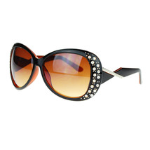 Womens Rhinestone Sunglasses Oversized Round Butterfly Designer Frame - £7.79 GBP