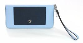 Michael Kors Purse Wallet Greenwich Leather Light Sky Blue & Navy Large - $217.70