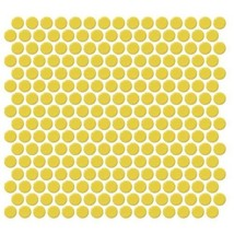 Vogue Tile Yellow Penny Round Porcelain Mosaic Box of 10 Sqft, Floor and Wall Ti