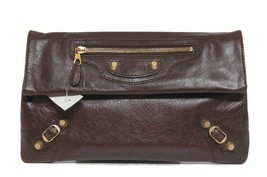 New $1195 Balenciaga Giant 12 Envelope Washed Arena Leather Clutch Bag - $684.04
