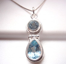 Small Blue Topaz Faceted Double Gem 925 Sterling Silver Necklace Corona Sun - $348,30 MXN