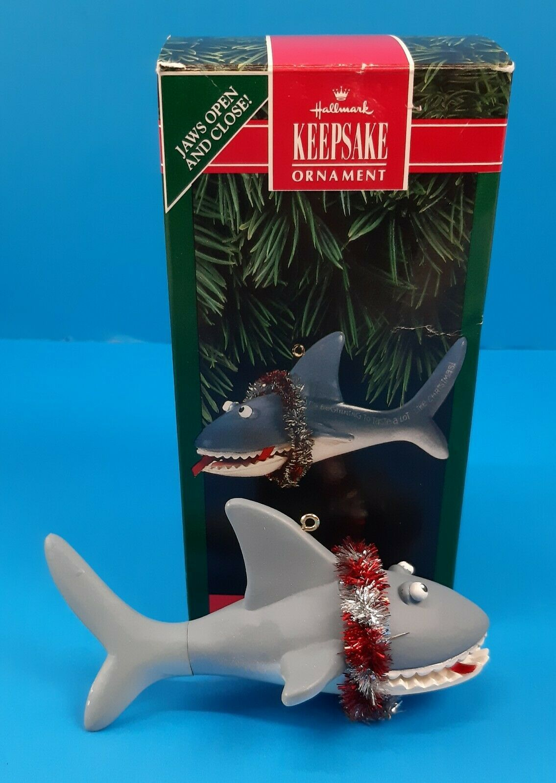 Primary image for Hallmark Keepsake Ornament Tasty Christmas Shark Jaws Open & Close With Box 1992
