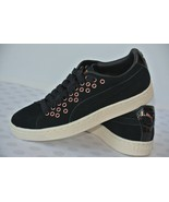 NEW Puma Womens Sz 6.5 M Black Suede Leather Grommet Sneakers 364107 - $29.69