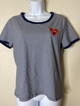 """H&M Divided Womens Size L Navy Striped """"Love"""" Heart Graphic Embroidered ... - $13.86"""