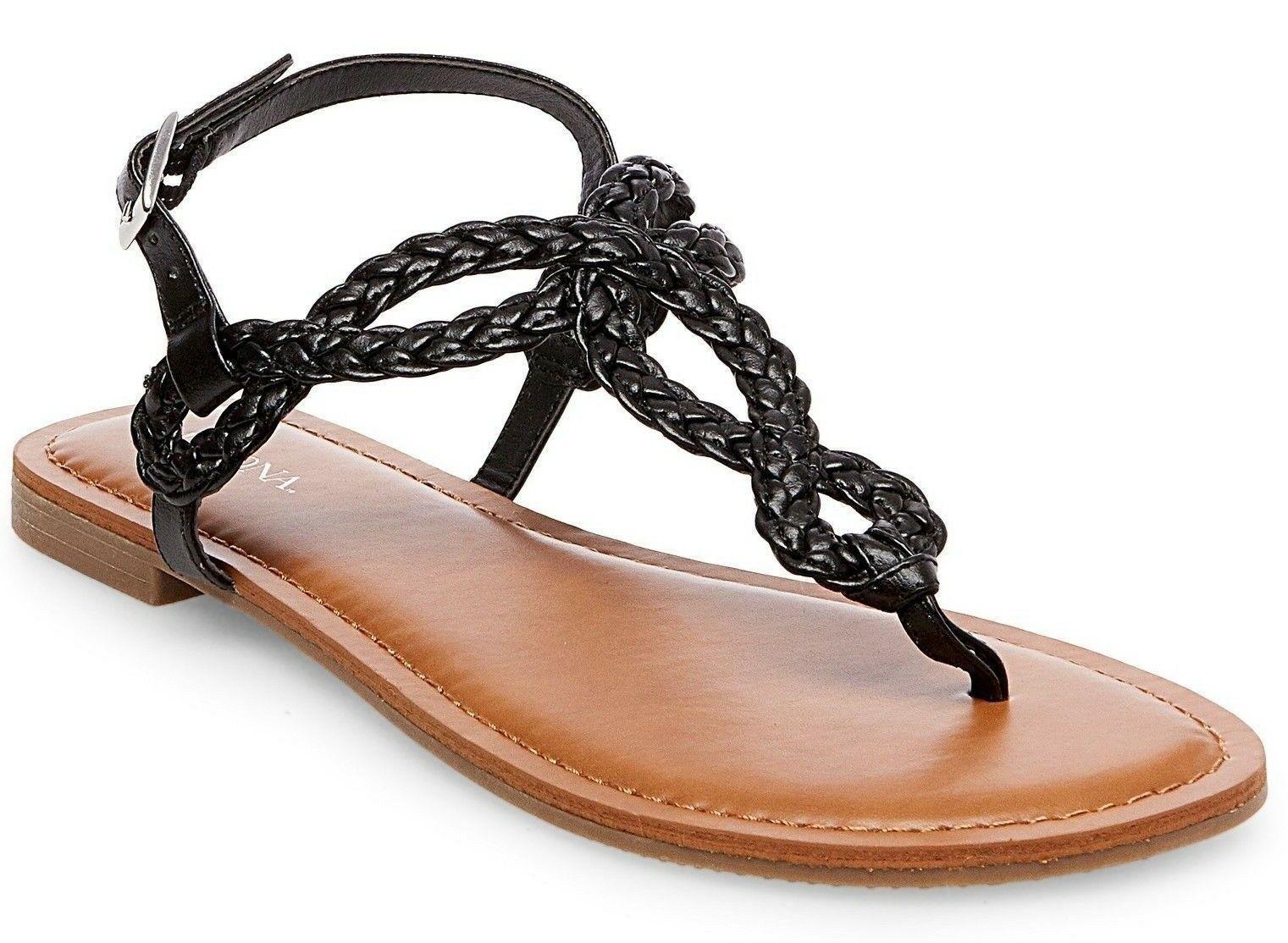 New Women's Merona Jana Quarter Strap Flat Strappy Sandals in Black NWT