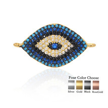 Evil Eye Connector Metal Pave Turquoise CZ Pave Bead for Jewelry Charms ... - $7.59