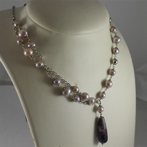 .925 RHODIUM SILVER NECKLACE, PURPLE AND ROSE PEARLS, AMETHYST PENDANT. image 1
