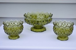Fenton Hobnail Colonial Green Candle Bowl #3872 CG & 2 Mini Candle Holde... - $24.75