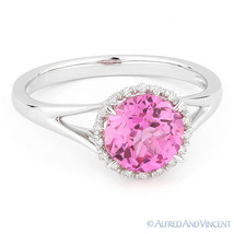 1.81ct Round Cut Pink Corundum Gem & Diamond Halo Engagement Ring 14k Wh... - €366,04 EUR