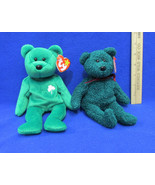 2 TY Beanie Babies Plush Original Stuffed Animal 1997 Erin 2001 & Holida... - $12.22