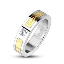 """Women's Wedding Band Stainless Steel """"Endless Love"""" inscribed Gold IP CZ... - $8.74"""