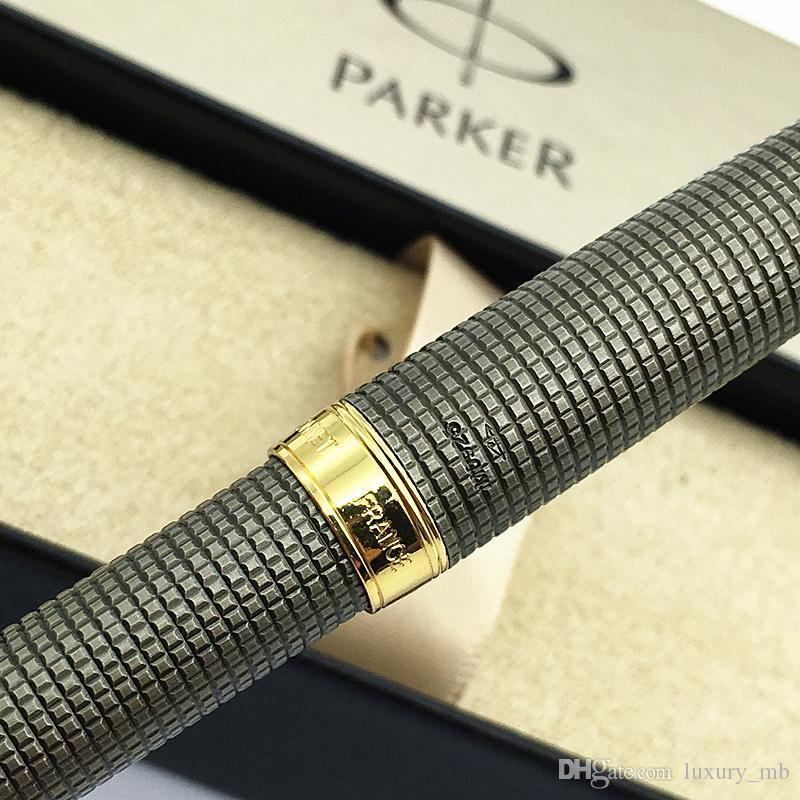 New Parker 18K Sonnet Series 08 stylo Gray grid Fountain Pens Writing ink pen su
