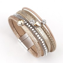 Amorcome Multilayer Leather Bracelets for Women Trendy Rhinestone Crysta... - $17.69