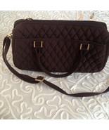 Vera Bradley Brown Quilted Bag Tote Shoulder Handbag Purse Gold Logo  - $33.66
