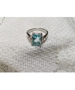 Blue Topaz Color Crystal Silvertone Ring Sz 6 or 7 with White Crystal Side Stone