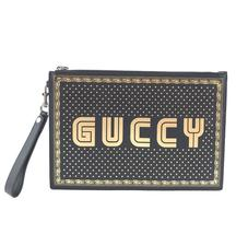 #32646 Gucci Logo Zipped Pouch Magnetismo Pochette Black Gold Leather Cl... - $600.00