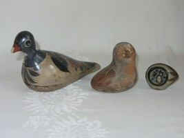 Lot of 3 Rustic Folk Art Clay Pottery Ceramic Vtg Bird Figurines Figures... - $39.59
