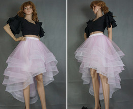 White High Low Layered Tulle Skirt High Waist Long Tiered Tulle Skirt Outfit D87 image 4