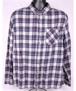 Boston Trader Flannel Shirt-XL-Grey Blue Plaid-Button Collar-Outdoor-Lon... - $14.01
