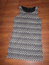 M/L Forever 21 Dress Gray Sleeveless Tank Bodycon Pencil Formal Zigzag Pattern - $12.99