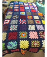 Handcrafted Twin Size Granny Square Afghan  Navy Blue Trim - $125.00