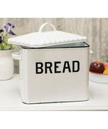 White Enamel Breadbox Vintage Bread Keeper Rustic Food Storage - $54.40