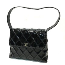AUTHENTIC CHANEL Matelasse CC Quilted Shoulder Bag Black Patent Leather - $570.00