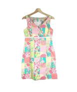 LILLY PULITZER Multicolor Print Sheath Dress Sz 4 Pink/Yellow Cotton V-Neck - $37.39