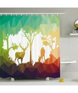 Shower Curtain Forest Deer Nature Print 21751 - $34.60