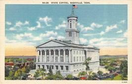 NASHVILLE, TN Tennessee  STATE CAPITOL~Bird's Eye View   c1940's Linen P... - $3.70