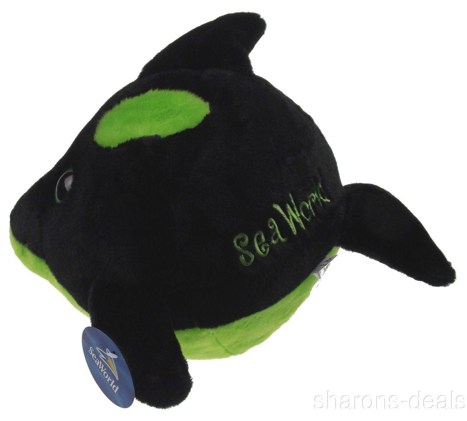 "Sea World 9"" Orca Killer Whale Bubble Zoo Plush Toy Green Black Stuffed Animal"