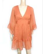 Modcloth Myth Burnt Orange V-neck Ruffle Bell Sleeve Kimono Mini Shirt D... - $14.03