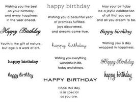 Paper Trey Ink Text Style Birthday Basics Clear Cling Stamp Set #2062