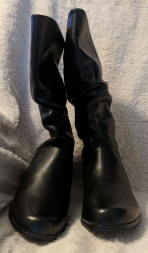 St. John's Bay Black Mid Calf Genuine Leather Boots With Small Heel