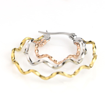 Whimsical Tri-Color Silver, Gold & Rose Tone Hoop Earrings- United Elegance image 4