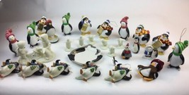 Penguin Ornaments Lot of 29 Collection Christmas penguins galore FUN  - $28.04