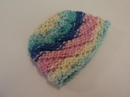 Handcrafted Baby Hat Pink Blue Yellow Textured 100% Acrylic Female Kids 0-1 - $25.76