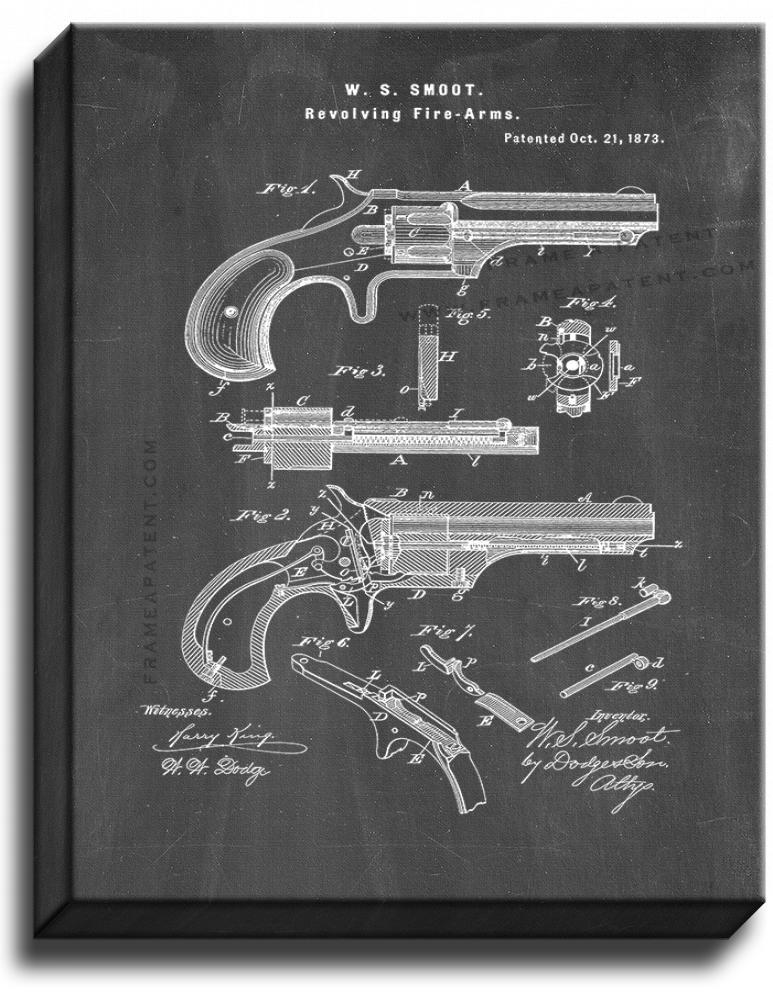 Primary image for Revolving Fire-Arms Patent Print Chalkboard on Canvas