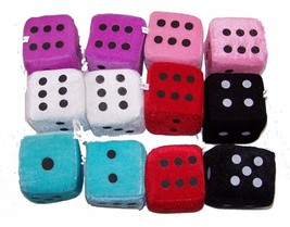 6 PAIR ASST LARGE FUZZY PLUSH 3 INCH DICE rearview die hanging NEW car m... - $22.55