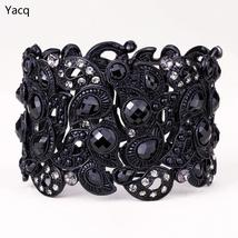 YACQ Floral Stretch Bracelet Vintage Flower Crystal Women Fashion Jewelr... - $17.98+