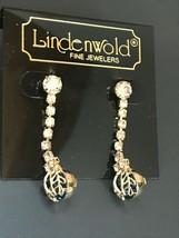 Lindenworld Fine Jewelers Long Clear Rhinestone Dangle w Blue Rhinestone... - $25.10