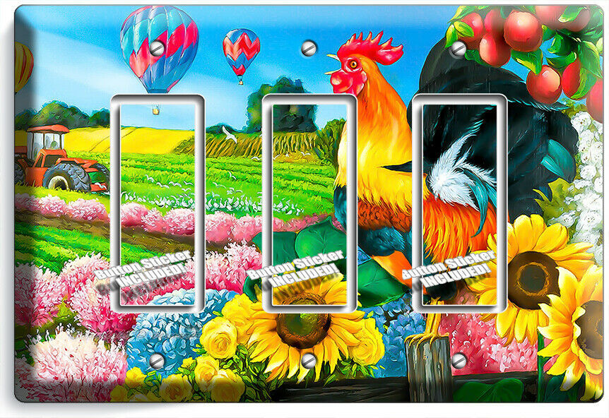 COUTRY FARM FRENCH ROOSTERS SUNFLOWER 3 GFI LIGHT SWITCH PLATE KITCHEN ART DECOR