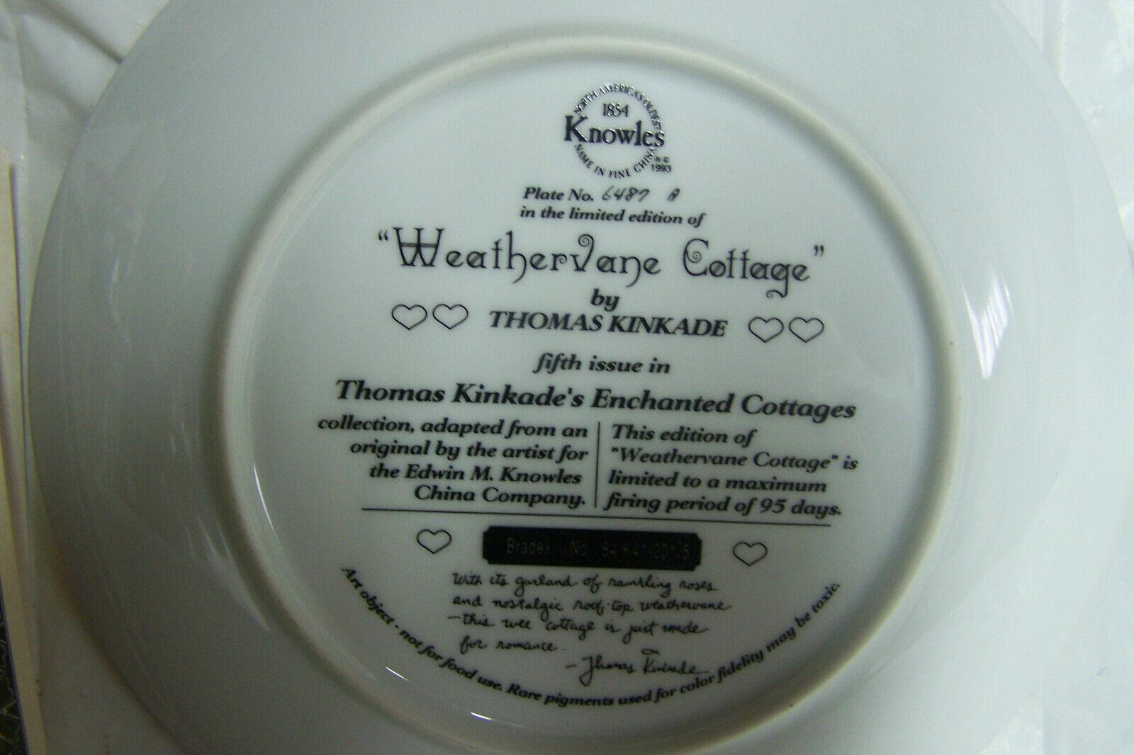 "1993 Knowles Thomas Kinkaid ""Weathervane Cottage"" Porcelain Collector Plate"